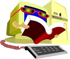 computer reading a book